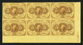 Fractional Currency:First Issue, Fr. 1230 5¢ First Issue Block of Six Very Fine.. ...