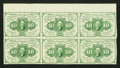 Fractional Currency:First Issue, Fr. 1242 10¢ First Issue Block of Six Fine-Very Fine.. ...