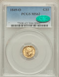 Gold Dollars, 1849-O G$1 Open Wreath MS62 PCGS. CAC. Variety 3....