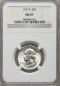 Washington Quarters, 1937-D 25C MS67 NGC. NGC Census: (23/0). PCGS Population (54/0).Mintage: 7,189,600. Numismedia Wsl. Price for problem free...