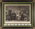 Autographs:U.S. Presidents, Abraham Lincoln and Cabinet: Engraving and Autograph Display. ...