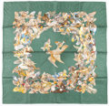 "Luxury Accessories:Accessories, Hermes 90cm Green ""L'Intrus,"" by Antoine De Jacquelot Silk Scarf...."
