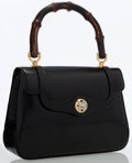 Luxury Accessories:Bags, Gucci Black Leather Top Handle Bag with Bamboo Hardware. ...