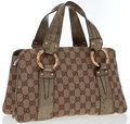 Luxury Accessories:Bags, Gucci Classic Monogram Canvas & Metallic Leather Tote Bag withGold Bamboo Accents. ...