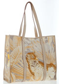 Luxury Accessories:Bags, Salvatore Ferragamo Beige Leather & Canvas Animal Print ToteBag. ...