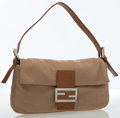 Luxury Accessories:Bags, Fendi Beige Wool & Leather Baguette Bag with Silver Hardware ....