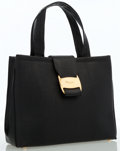 Luxury Accessories:Bags, Salvatore Ferragamo Black Lizard Embossed Leather Tote Bag. ...