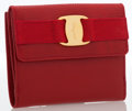 Luxury Accessories:Accessories, Salvatore Ferragamo Red Lizard French Wallet. ...