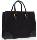 Luxury Accessories:Bags, Gucci Black Monogram Canvas & Leather Tote Bag . ...