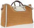 Luxury Accessories:Bags, Gucci Natural Straw & Silver Leather Tote Bag with BambooHandles. ...