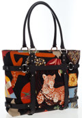 Luxury Accessories:Bags, Salvatore Ferragamo Black Leather & Nylon Animal Print ToteBag. ...