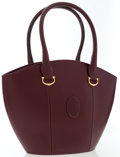 Luxury Accessories:Bags, Cartier Burgundy Leather Tote Bag with Gold Hardware. ...
