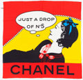"Luxury Accessories:Accessories, Chanel Red, Yellow & Black ""Just a Drop of No. 5,"" Silk Scarf...."