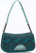 Luxury Accessories:Bags, Christian Dior Turquoise Snakeskin Shoulder Bag. ...