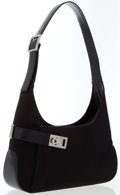Luxury Accessories:Bags, Salvatore Ferragamo Black Canvas Shoulder Bag with Silver Hardware. ...