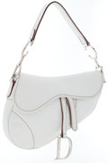 Luxury Accessories:Bags, Christian Dior White Leather Saddle Bag with Silver Hardware . ...