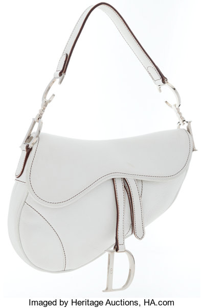 Christian Dior White Leather Saddle Bag with Silver Hardware ... a793cea331c8f