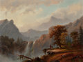 Fine Art - Painting, American:Antique  (Pre 1900), ALEXANDER FRANCOIS LOEMANS (Canadian/American, 1816-1898).Indians by the Falls. Oil on board. 18 x 24 inches (45.7 x61...