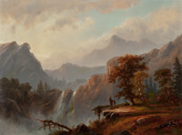 ALEXANDER FRANCOIS LOEMANS (Canadian/American, 1816-1898) Indians by the Falls Oil on board 18 x