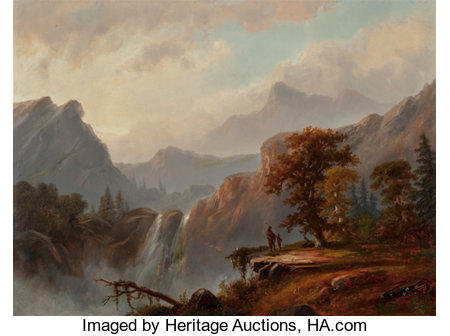 ALEXANDER FRANCOIS LOEMANS (Canadian/American, 1816-1898) Indians by the Falls Oil on board 18 x 24 inches (45.7 x 61...