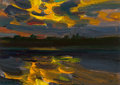 Fine Art - Painting, Russian:Contemporary (1950 to present), MIKHAIL KONOV (Russian, b. 1928). Dramatic Sunset, 2006. Oilon board. 6-1/4 x 8-1/2 inches (15.9 x 21.6 cm). Signed low...
