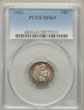 Barber Dimes: , 1903 10C MS63 PCGS. PCGS Population (31/75). NGC Census: (29/57).Mintage: 19,500,756. Numismedia Wsl. Price for problem fr...