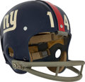 Football Collectibles:Uniforms, 1962-64 Y.A. Tittle Game Worn New York Giants Helmet....