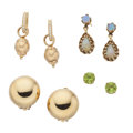 Estate Jewelry:Earrings, Diamond, Opal, Peridot, Gold Earrings. ... (Total: 4 Items)