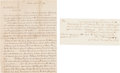 Autographs:Celebrities, John Brown: Twice-Signed Manuscript Receipt and Bonus Letter. ... (Total: 2 Items)