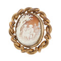 Estate Jewelry:Brooches - Pins, Victorian Shell Cameo, Gilt-Metal Pendant-Brooch. ...