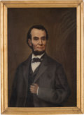 Political:3D & Other Display (pre-1896), Abraham Lincoln: Early Oil on Canvas. ...