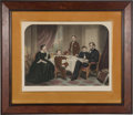 Political:Posters & Broadsides (1896-present), Abraham Lincoln and Family: Handsome Hand-Colored Engraving. ...