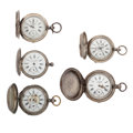 Timepieces:Pocket (pre 1900) , Five Russian Silver Pocket Watches For Parts. ... (Total: 5 Items)