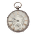 Timepieces:Pocket (pre 1900) , Swiss Fancy Dial Silver Lever Fusee, circa 1850. ...