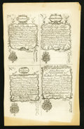 Colonial Notes:New Hampshire, New Hampshire April 1, 1737 Redated August 7, 1740 20s-40s-60s-100sCohen Reprint Face Uncut Sheet.. ...