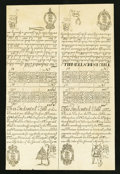 Colonial Notes:New Hampshire, New Hampshire May 20, 1717 Redated 1729 15s-30s-£3 10s-£4 CohenReprint Face Uncut Sheet.. ...