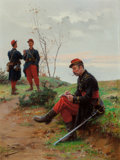 Fine Art - Painting, European:Antique  (Pre 1900), PAUL LOUIS NARCISSE GROLLERON (French, 1848-1901). FrenchSoldiers. Oil on panel. 14-1/4 x 10-1/2 inches (36.2 x 26.7cm...