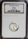 Proof Buffalo Nickels: , 1936 5C Type Two--Brilliant Finish PR64 NGC. This is a fullybrilliant and highly attractive proof with deeply mirrored fie...