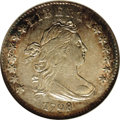 Early Dimes: , 1798/97 10C 16 Stars on Reverse AU55 NGC. JR-1, R.3. JR-1 is theonly 1798 dime variety with sixteen reverse stars, and he...