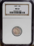 Bust Dimes: , 1829 10C Small 10C MS62 NGC. JR-7, R.1. Cherry-red centers areframed by aqua-blue margins. This boldly struck type coin di...