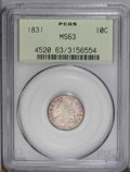 Bust Dimes: , 1831 10C MS63 PCGS. JR-3, R.1. Medium rose coloration embraces this lustrous and sharply struck Capped Bust dime. A single ...