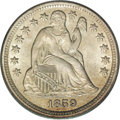 Seated Dimes: , 1859 10C MS66 PCGS. Final year of issue for the With Stars design,and an exceedingly lustrous example blanketed in memorab...