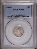 Barber Dimes: , 1900-S 10C MS64 PCGS. Highly lustrous surfaces are overlain bydappled golden-brown patina on the obverse. The design eleme...
