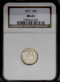Barber Dimes: , 1911 10C MS65 NGC. A frosty Gem with sharp design elements on bothsides. The surfaces are mostly brilliant with a touch of...