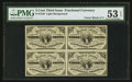 Fractional Currency:Third Issue, Fr. 1226 3¢ Third Issue Block of Four PMG About Uncirculated 53 EPQ.. ...