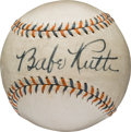 Autographs:Baseballs, 1930's Babe Ruth Single Signed Baseball, PSA/DNA NM 7....