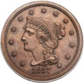 Proof Large Cents, 1857 1C Small Date PR66 Brown PCGS. N-3, Low R.5....