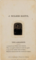 Photography:Tintypes, John Wilkes Booth: Gem Tintype on CDV Mount. ...