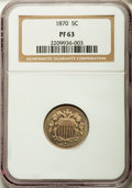 1870 5C PR63 NGC. NGC Census: (0/0). PCGS Population (64/214). Mintage: 1,000. Numismedia Wsl. Price for problem free NG...