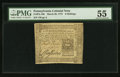 Colonial Notes:Pennsylvania, Pennsylvania March 20, 1773 6s PMG About Uncirculated 55.. ...